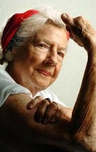 """Geraldine Doyle, model for WWII """"We Can Do It!"""" poster at age 85."""