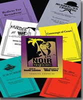 Cafe Noir and murder musical script covers