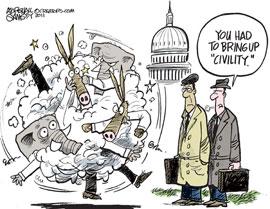 Democrats and Republicans brawling cartoon